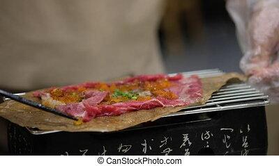 complété, style, wagyu, yaki, chef cuistot, crevette, chevreuil, hoba, oeuf, gril, aliment séché, leaf., japonaise, boeuf