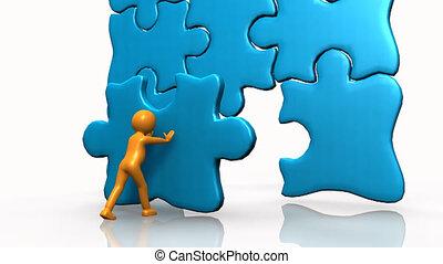 compléter, puzzle, homme, grand, 3d