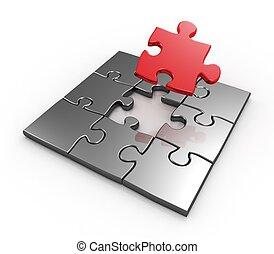 compléter, puzzle, maître, morceau, dernier, rouges