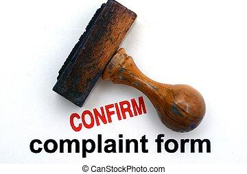complain, formulaire, confirmer