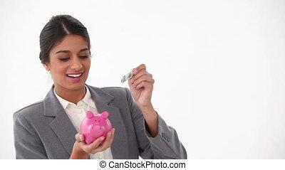 complet, argent, habillé, mettre, piggy-banque, femme
