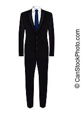 complet, cravate noire, homme bleu