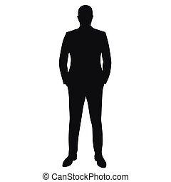 complet, homme affaires, vecteur, silhouette, isolé