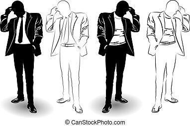 complet, homme, silhouette, noir, blanc