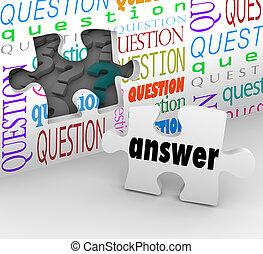 complet, mur, puzzle, question, compréhension, réponse, morceau