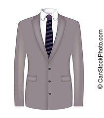 complet, rayé, gris, cravate, homme