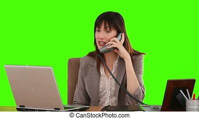 complet, téléphone, conversation, femme affaires