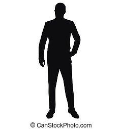 complet, vecteur, silhouette, isolé, homme