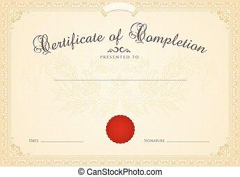 completion., certificat, cadre, diplôme