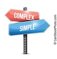 complexe, simple, conception, illustration, signe