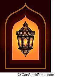 compliqué, arabe, lanterne, eid, ou