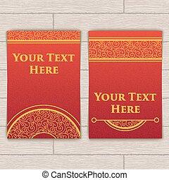 compliqué, cartes, ensemble, red-gold, texture