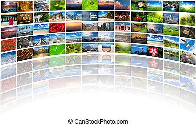 composé, beaucoup, résumé, multimédia, fond, images, copie