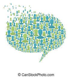 composé, bulle, gens, concept, beaucoup, parole, eps8, social, vecteur, silhouettes., réseau