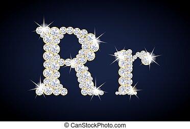 """composé, doré, frame., alphabet, set., lettre, diamants, """"r"""", complet"""