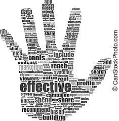 composé, média, themes., isolé, illustration, symbole, texte, social, keywords, blanc, main