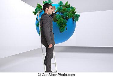 composite, échelle, debout, homme affaires, image
