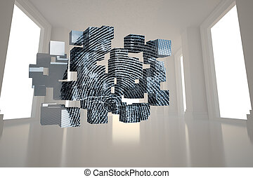 composite, écran, empreinte doigt, résumé, image