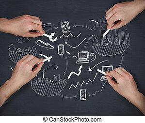 composite, craie, multiple, mains, écriture, idée génie, image