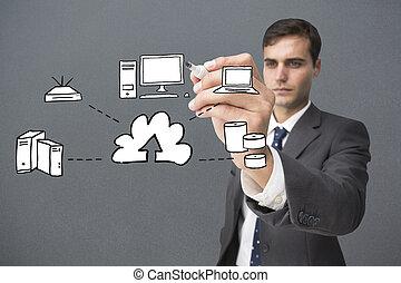 composite, graphique, écriture, homme affaires, image