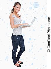 composite, ordinateur portable, portrait, utilisation, sourire, image, femme