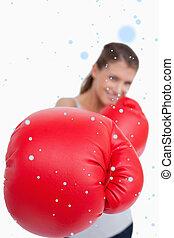 composite, portrait, boxe, sourire, image, femme