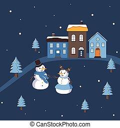 composition, bonhomme de neige, femme, mignon, simple, neige, hiver