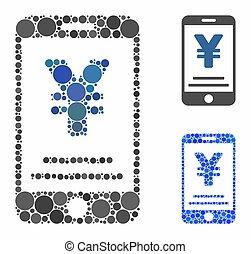 composition, cercles, paiement, mobile, yen, icône