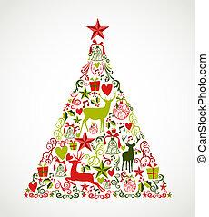 composition., couches, éléments, eps10, facile, coloré, arbre, organisé, forme, joyeux, editing., vecteur, reindeers, fichier, vacances, noël