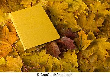 composition., feuille, signet, automne, livre, rouges