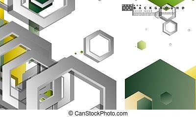 composition., fond, illustration, hexagones, résumé, feuillage, géométrique, vecteur, couleur