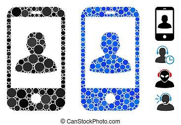 composition, icône, cercles, profil, mobile