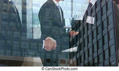 composition, numérique, grand, fond, mains affaires, bâtiments, contre, gens, secousse