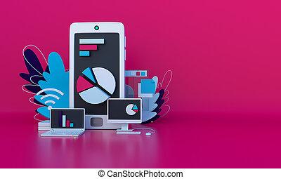 composition, smartphone, toile, diagrammes, graphs., business., page, moniteur