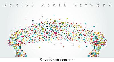composition., têtes, réseau, média, forme, social, eps10, file., femmes