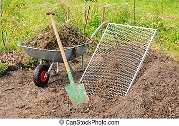 compost, crible, tas, 01