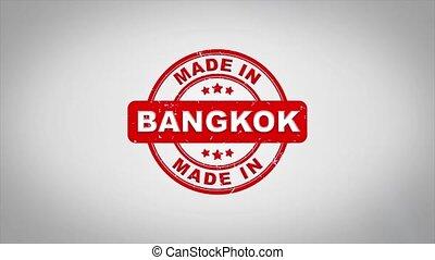 compostage, bois, texte, animation., signé, bangkok, timbre, fait