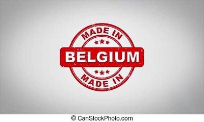 compostage, bois, texte, animation., signé, timbre, fait, belgique