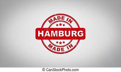 compostage, bois, texte, animation., signé, timbre, fait, hambourg