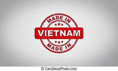 compostage, bois, texte, animation., signé, timbre, fait, vietnam