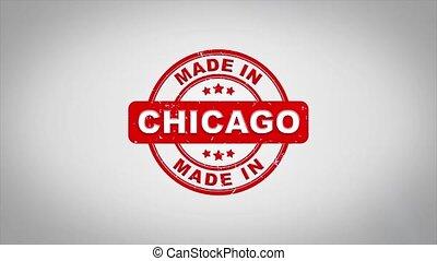 compostage, chicago, bois, texte, animation., signé, timbre, fait