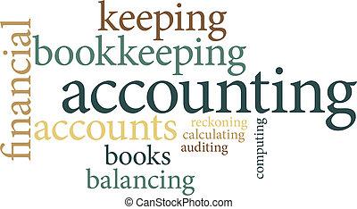 comptabilité, nuages, mot