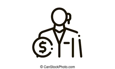 comptable, profession, animation, icône