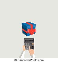 compte, calculatrice, isolé, cadeau, présente, vecteur, coûts