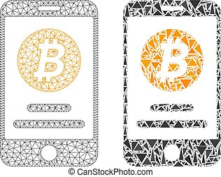 compte, carcasse, mobile, bitcoin, polygonal, maille, mosaïque, icône