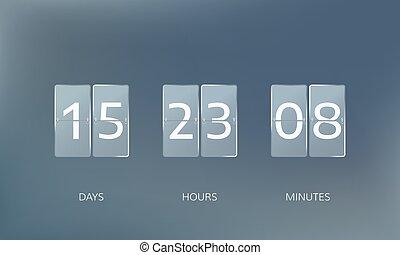 compte, compte rebours, illustration, heures, jours, vecteur, minutes., annoncer, design.