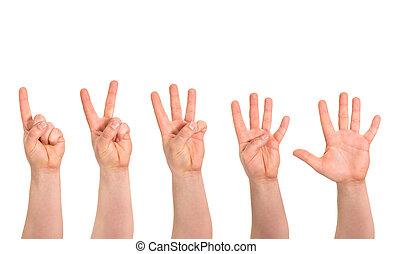 compte, isolé, une, doigts, cinq, geste main