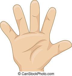 compte, projection, gosse, cinq, main