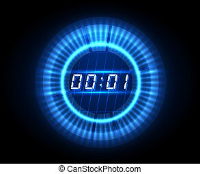 compte rebours, futuriste, horloge