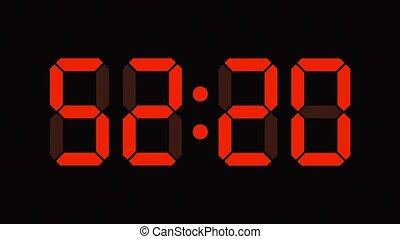 compte rebours, soixante, horloge numérique